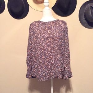 Loft Floral Long Sleeve Accordion Bell Cuff Size L